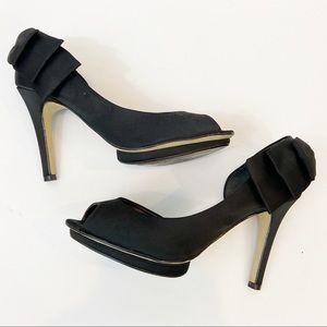 LARA COSTA Black Satin Heel Peep Toe Bow Detail